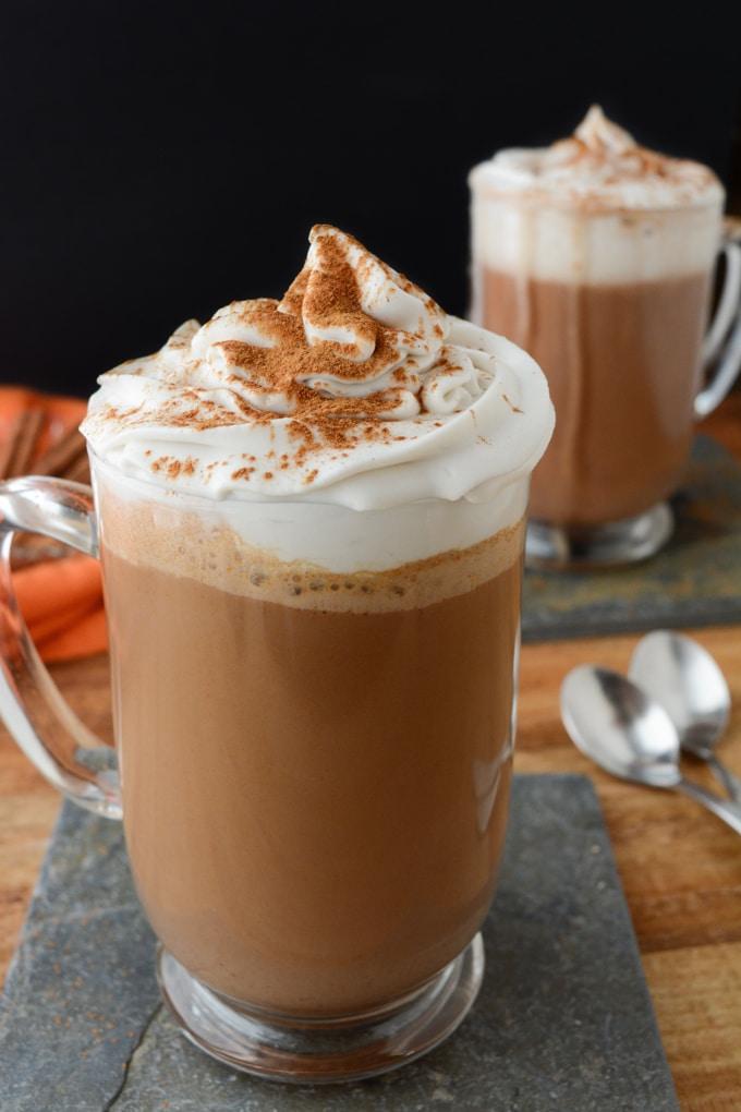 healthy pumpkin recipes: a glass of vegan pumpkin spice hot chocolate