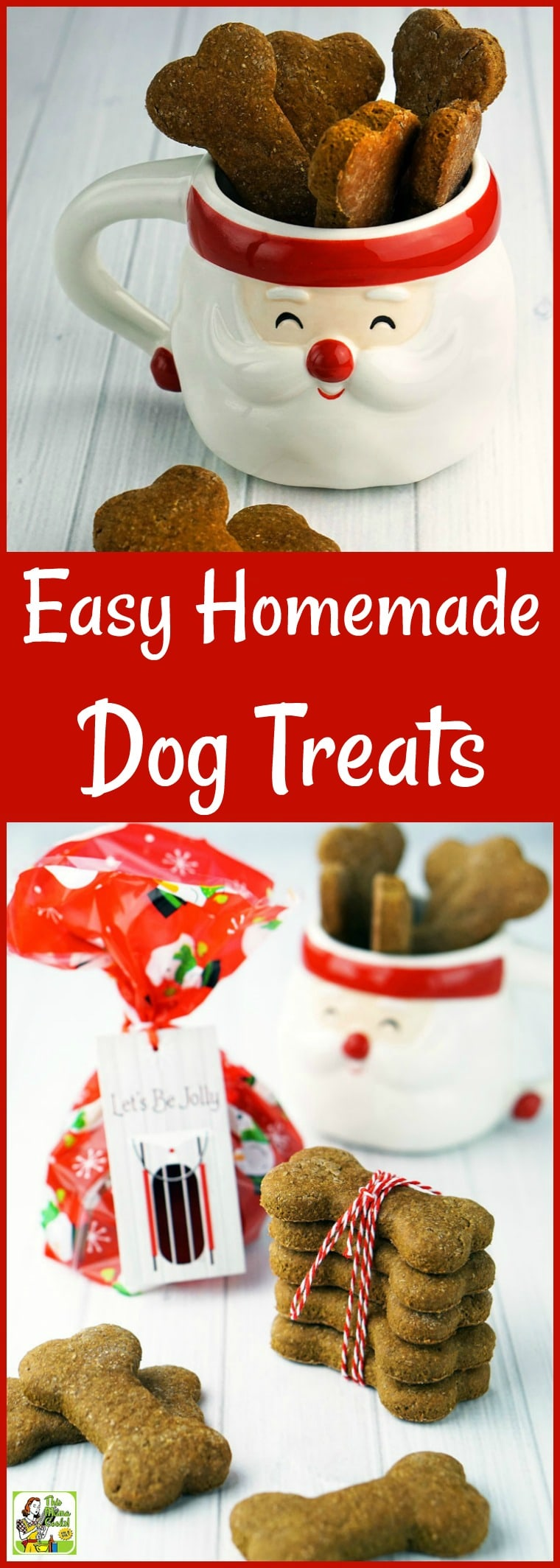 Looking for an easy homemade gift for a dog lover? Make this Easy Homemade Dog Treats recipe! These are dog treats without peanut butter. Can be made into grain free dog treats or gluten free dog treats with a few substitutions. #dogs #doglovers #dogtreats #grainfree #glutenfree #dairyfree #homemadegifts