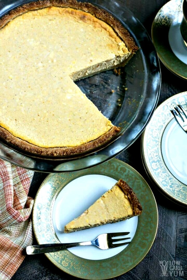 Gluten Free Thanksgiving Desserts - Low Carb Pumpkin Cheesecake Pie from Low Carb Yum