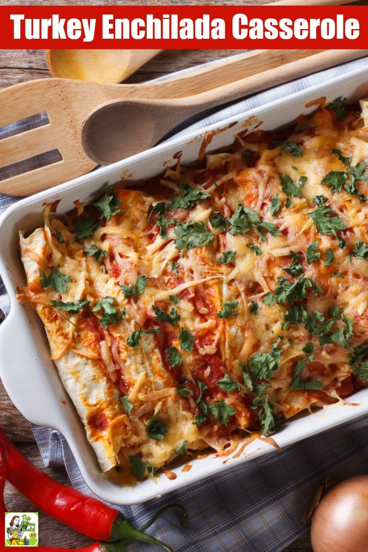 Got too much turkey? Make Leftover Turkey Enchilada Casserole! Try this turkey enchilada casserole recipe after Thanksgiving. This gluten free enchilada casserole recipe also works with many types of meats like shredded pork, beef, or ground taco meat. #turkey #thanksgiving #thanksgiving recipes #tacotuesday #taconight #casserole #mexicanfood #onepot #leftovers #recipe #easy #recipeoftheday #glutenfree #easyrecipes #enchiladas