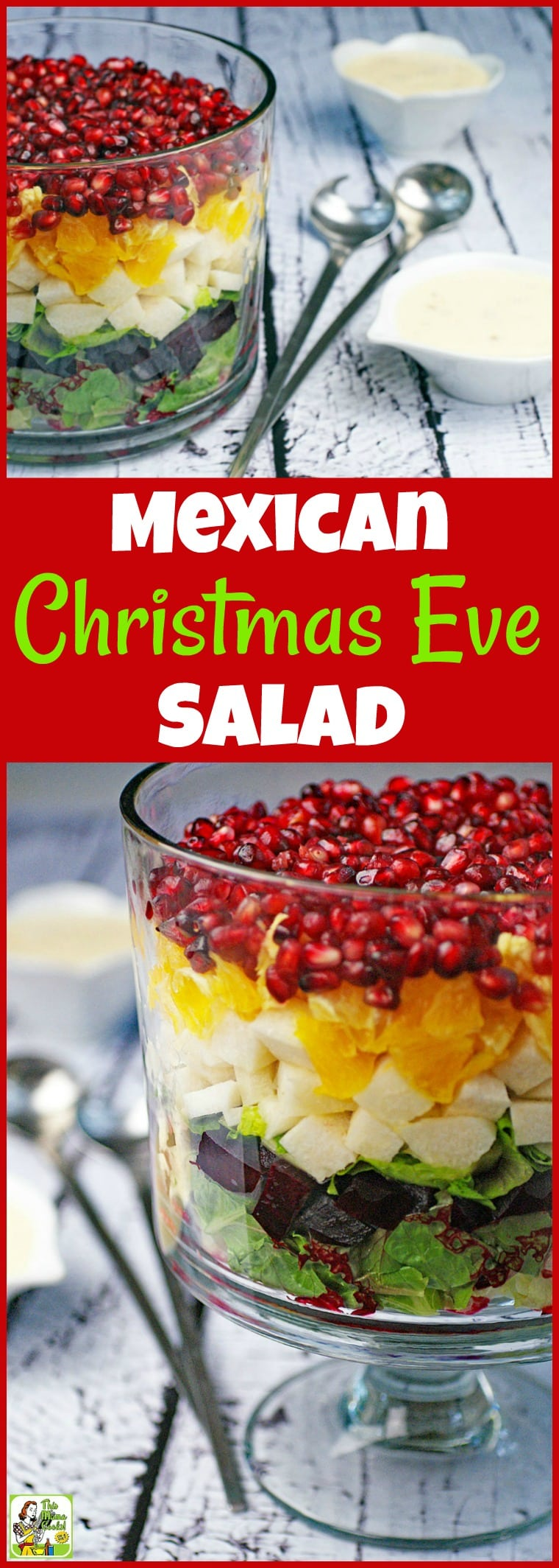 Make something different for the holidays or any time of the year! Learn how to make a Layered Mexican Christmas Eve Salad in a trifle bowl. This traditional and easy Christmas Eve dinner salad recipe is easy to make, healthy, and festive looking! #Christmas #salad #triflebowl #Mexican #ChristmasEve #healthy #glutenfree #beets #pomagranate #Mexicanfood #recipe #easy #recipeoftheday #healthyrecipes #easyrecipes