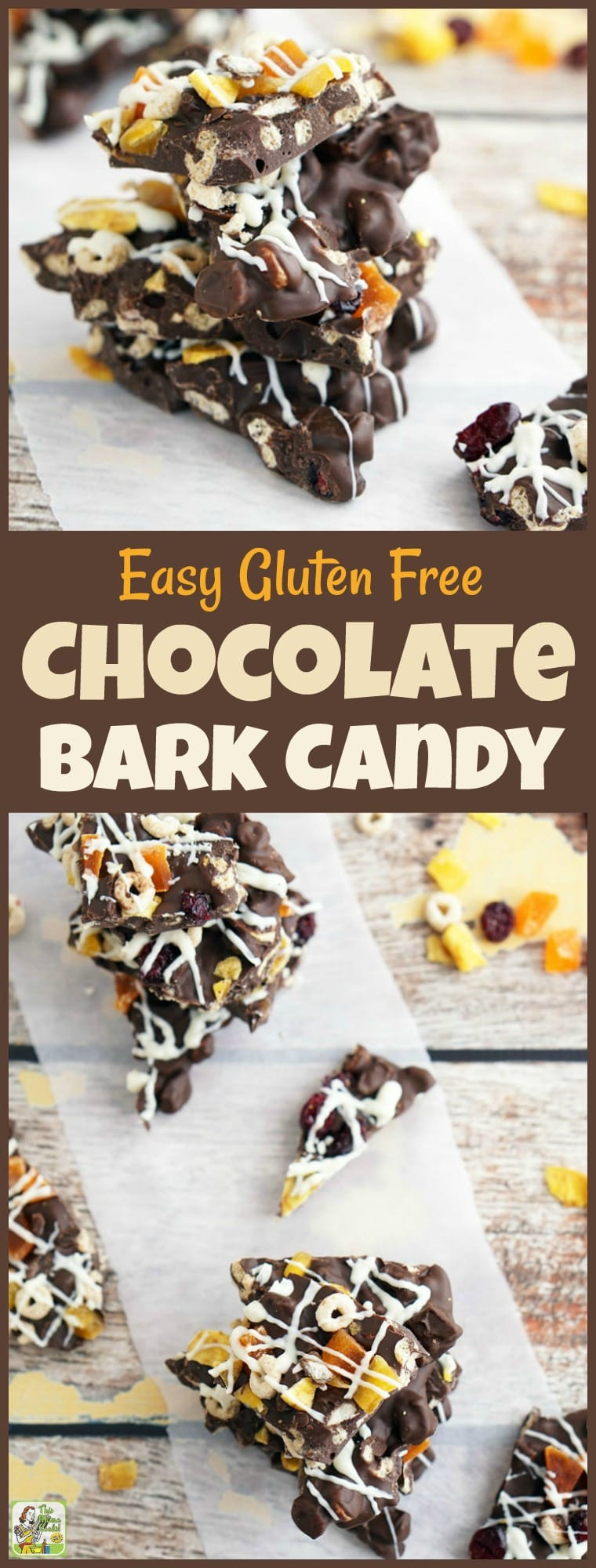 This Easy Gluten Free Chocolate Bark Candy makes an awesome snack. This easy to make bark candy recipe is made Frosty Cheerios, dried fruit and candy melts. Great for homemade candy DIY gifts and Christmas holiday cookie exchanges. #glutenfree #chocolate #candy #homemadegifts #DIY #gifts #Christmas #cookies #cookieexchange #cookieswap #chocolatebark #candybark #barkcandy #cheerios #candymelts #recipe #easy #recipeoftheday #easyrecipes #snacks