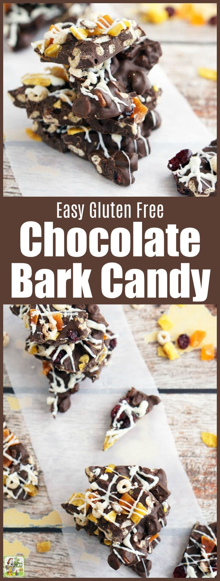 This Easy Gluten Free Chocolate Bark Candy makes an awesome snack. This easy to make bark candy recipe is made Frosty Cheerios, dried fruit, and candy melts or semi-sweet dark chocolate. Great for homemade candy DIY gifts and Christmas holiday cookie exchanges. #chocolate #homemade #candy #holiday #holidayrecipes #Christmas #glutenfree #glutenfreerecipes #recipe #recipes #snacks #bark #cookies
