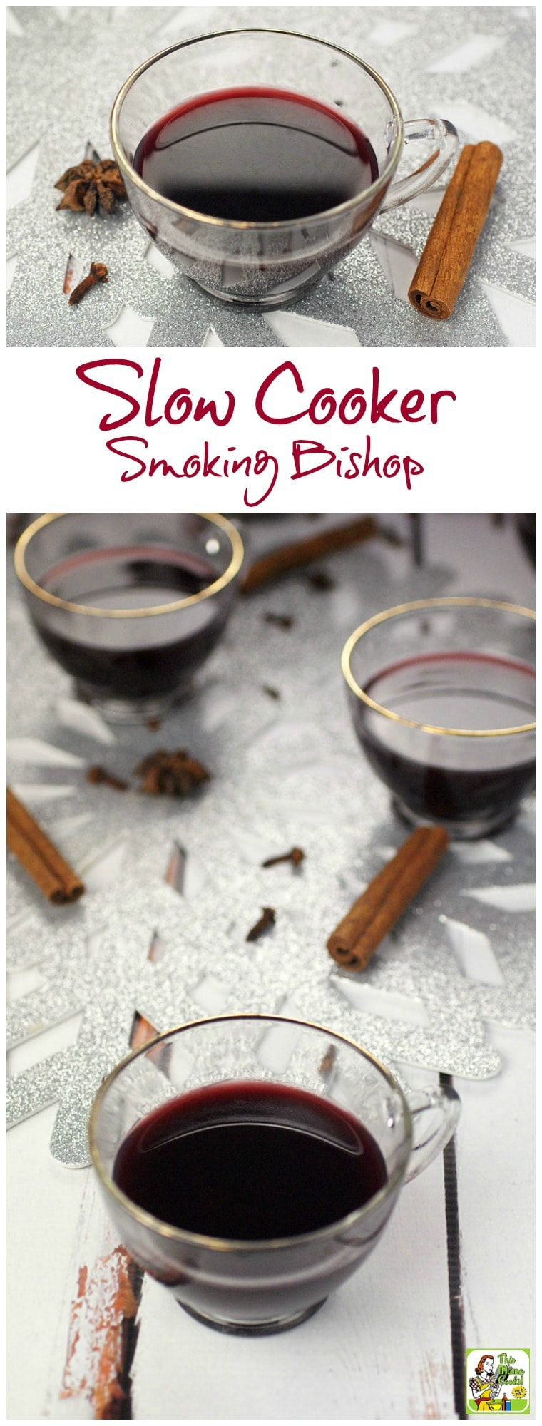 Need a mulled spiced wine recipe for a Christmas or New Year\'s Eve party? Smoking Bishop is a warmed, spiced fruit wine and port drink. Usually, it takes two days to make, but this recipe cuts the time to half a day by using a slow cooker! Your guests will love this crock-pot party drink recipe! #slowcooker #crockpot #wine #cocktails #mulledwine #drinks #drinking #smokingbishop #drinkrecipe