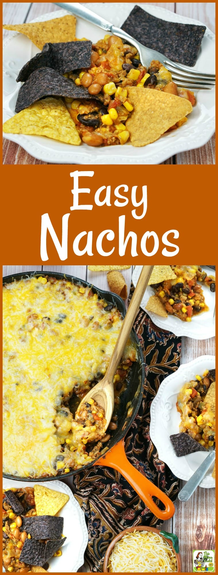 Looking for an Easy Nachos Recipe to make for a party? Try this nachos dip recipe that can be made in less than 20 minutes and served in a skillet! It\'s packed with healthy beans and lean ground turkey, so it\'s guilt-free dinner dish your family will love. #nachos #dip #party #appetizer #partyfood #cheese #glutenfree #turkey #beans #appetizerrecipes