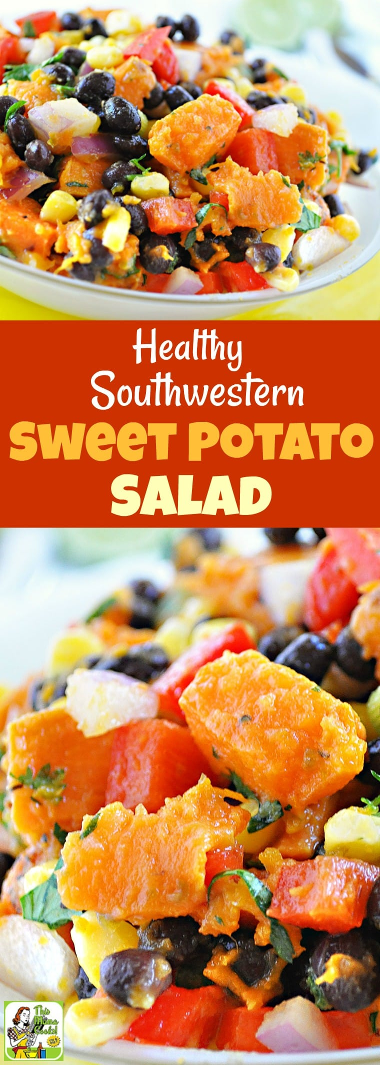 Try this Healthy Southwestern Sweet Potato Salad recipe! This cold sweet potato recipe is ideal for bbqs and potluck parties. Click to get this healthy, gluten free, and easy to make sweet potato salad recipe! #recipe #easy #recipeoftheday #healthyrecipes #glutenfree #easyrecipes #salad #sweetpotato #blackbeans #healthysalad