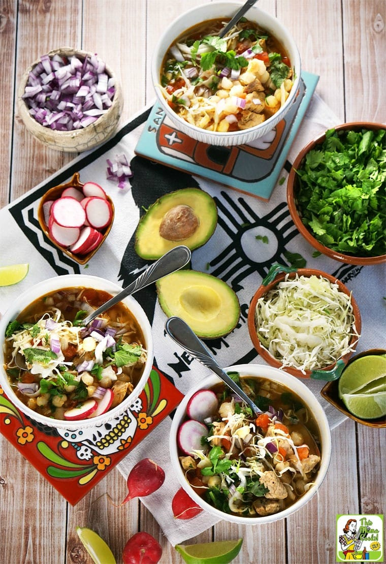 This pozole recipe is a combined verde and rojo recipe since it uses a can of tomatoes with jalapenos and ground chipotle.