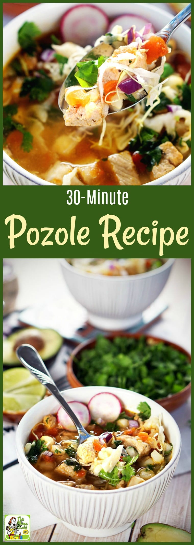 Want to know how to make pozole in less than 30 minutes? This pork pozole recipe combines pozole verde and pozole rojo. Can be made with chicken, too! #pork #soup #pozole #posole #Mexicanfood #under30 #30minutes #recipe #easy #recipeoftheday #healthyrecipes #glutenfree #easyrecipes