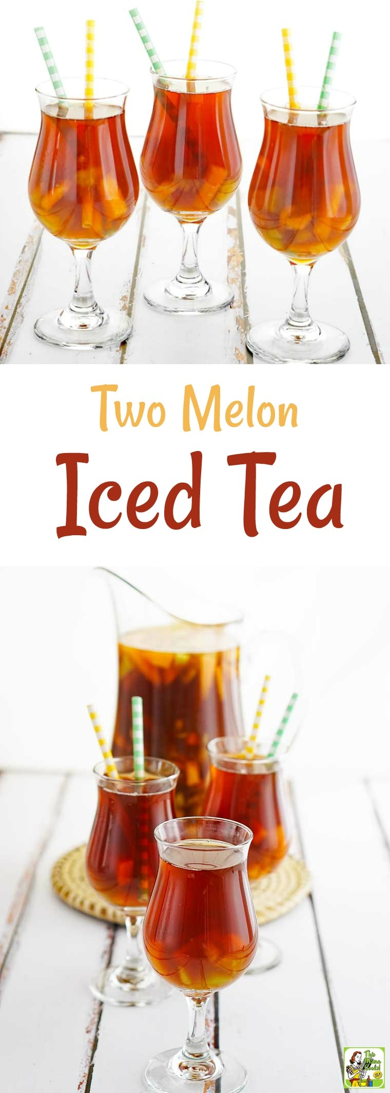 Looking for a refreshing low-calorie ice tea recipe? Try this Two Melon Iced Tea recipe. Fruit tea is a healthy alternative to drinking sodas. This fruit tea recipe is super easy to make! #icetea #icedtea #fruittea #lowcalorie #healthydrinks
