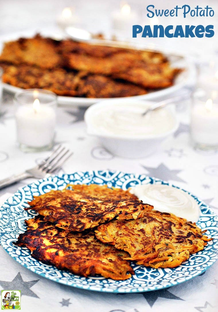 Sweet Potato Pancakes are served with sweetened Greek yogurt.