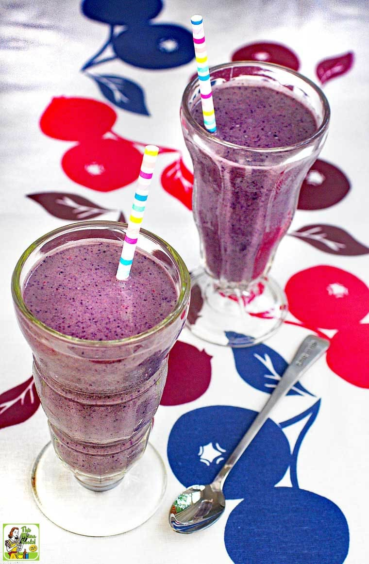 This vegan berry smoothies recipe uses frozen berries and coconut milk.