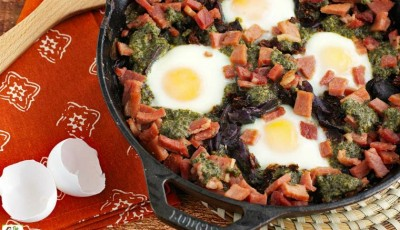 Baked Eggs with Skillet Potatoes in Pesto