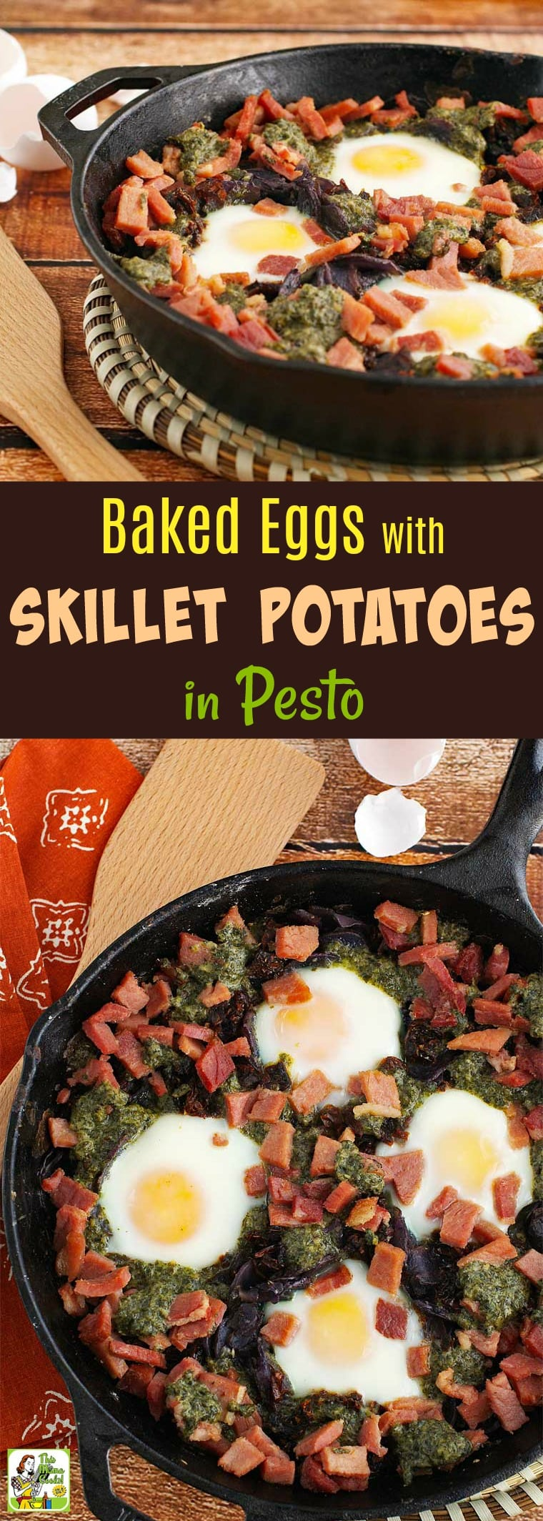 Do you make skillet potatoes for breakfast? Then you\'ll love this baked eggs recipe made with pesto and sun dried tomatoes. Baked Eggs with Skillet Potatoes in Pesto would also make a terrific brinner (breakfast for dinner) dish. Serve it with a side salad and toast. Naturally gluten free. #Breakfast #Brinner #SkilletPotatoes #SkilletEggs #SkilletPotatoes #BakedEggs #GlutenFree #Pesto #Potatoes #OnePot