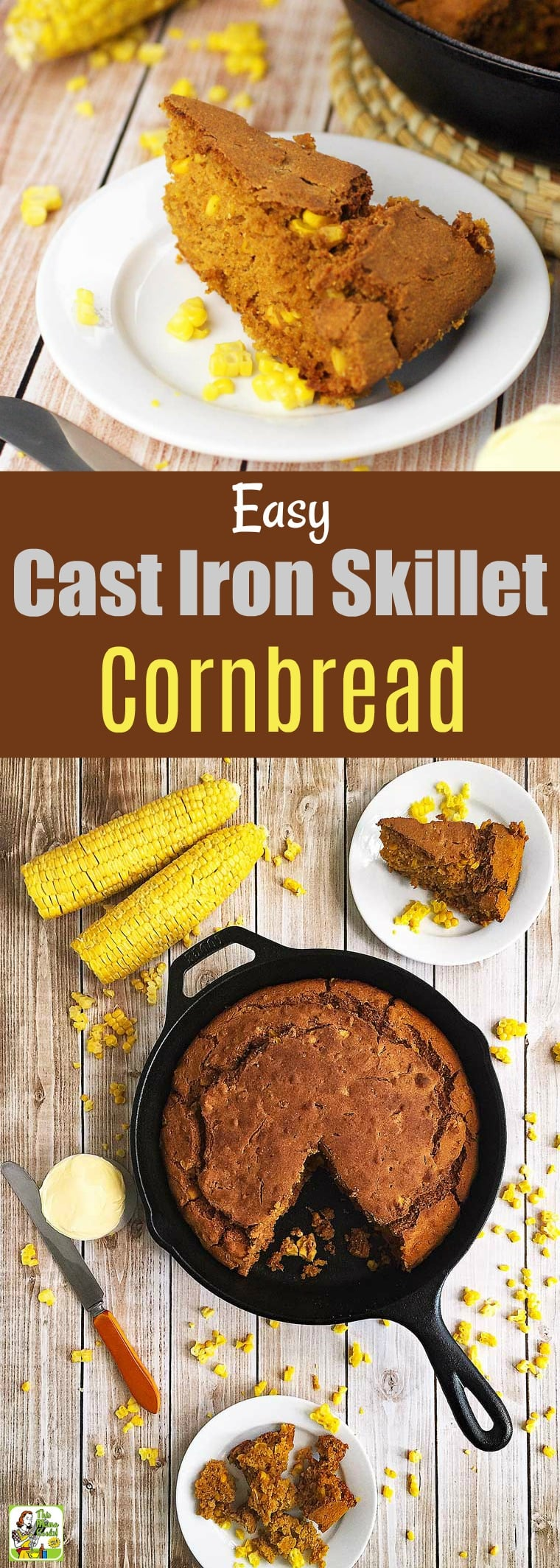 This Easy Cast Iron Skillet Cornbread is a wonderful side dish for dinner or brunch. This skillet cornbread recipe is gluten free and dairy free. Add coconut milk to leftover cornbread with a little maple syrup, and heat up to make a breakfast mush. Includes a corn shucking hack. #SkilletBaking #SkilletCornBread #CastIronSkillet #CornBread #GlutenFree #DairyFree #CastIronBaking #CastIronSkilletBaking #OnePotCooking #Baking #Corn #CornShucking #CornShuckingHack