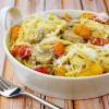 Crab Pasta with Pesto, Mushrooms & Tomatoes