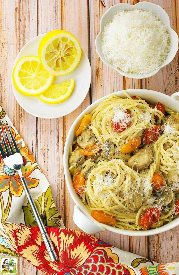 Crab Pasta Recipe with Pesto, Mushrooms & Tomatoes