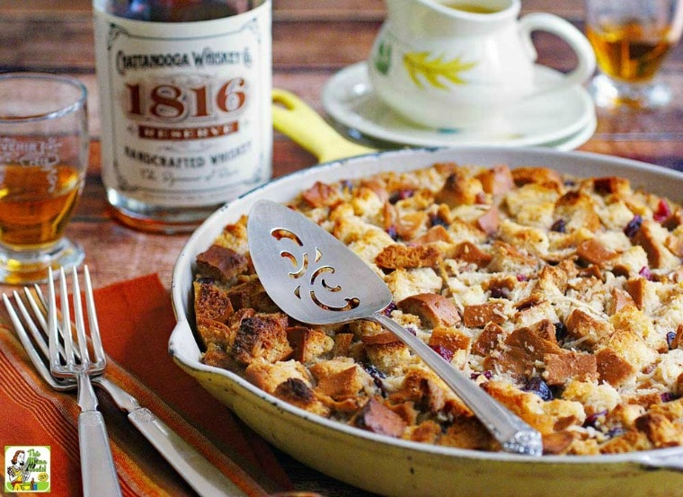 Making bread pudding with bourbon sauce for holidays and special occasions.