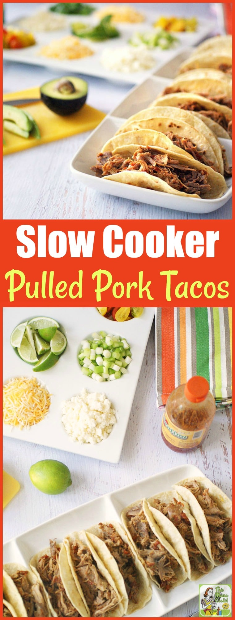 Pulled pork tacos are a go-to meal at my home. That's because Slow Cooker Pulled Pork Tacos are so quick and easy to make! They\'re perfect for Taco Tuesday, Family Taco Night, parties and potlucks. The whole family will love this crock-pot shredded pork recipe. #SlowCooker #CrockPot #ShreddedPork #PulledPork #MexicanFood #TacoTuesday #FamilyTacoNight #PartyFood #PotluckRecipes #SlowCookerRecipes