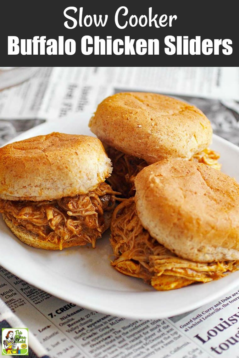 Make these Slow Cooker Buffalo Chicken Sliders the next time you have friends over for a sports watching party. #crockpot #slowcooker #chicken #buffalochicken #healthy #healthyrecipe #healthyeating #easy #easyrecipe #appetizer #glutenfree #sliders