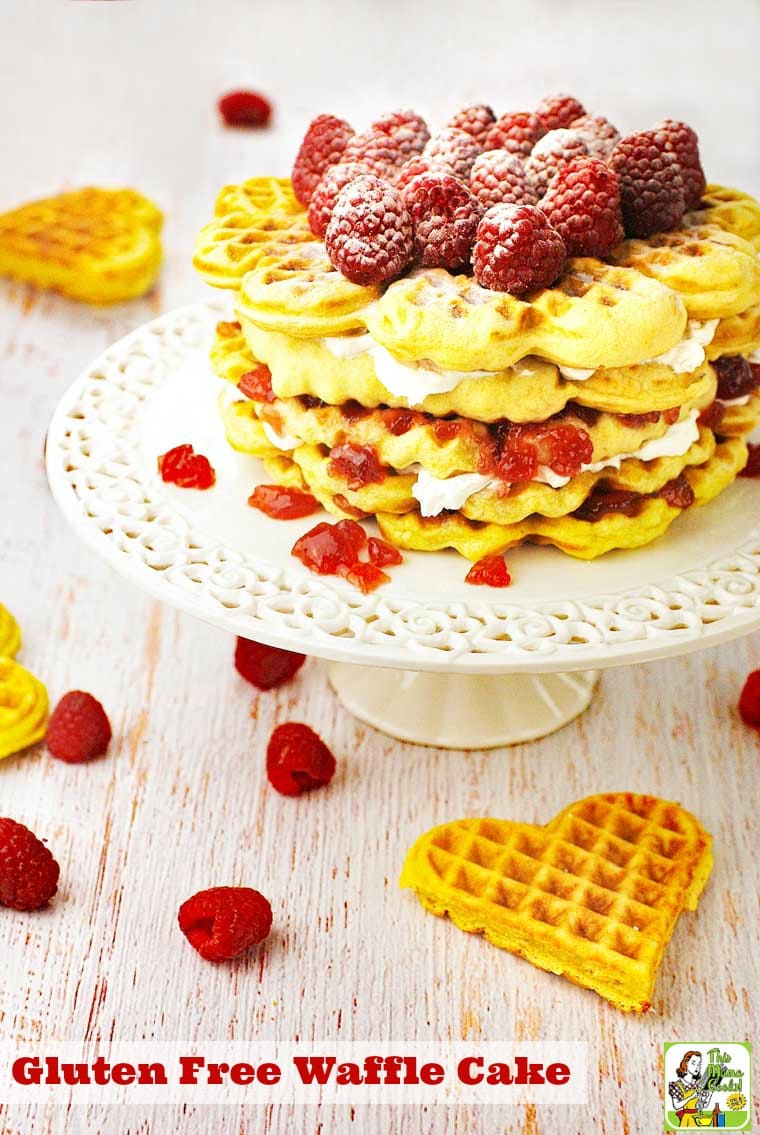 You'll love making this Gluten Free Waffle Cake for brunch or breakfast. It's also a terrific gluten free, dairy free, and sugar free dessert recipe! #recipe #easy #recipeoftheday #healthyrecipes #glutenfree #easyrecipes #dessert #baking #dessertrecipes #breakfast #brunch #waffles #raspberries #dairyfree #sugarfree