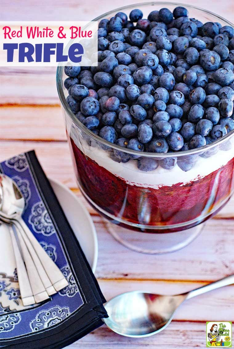 Make a Red White and Blue Trifle this summer! This easy trifles recipe uses three summertime berries – blueberries, blackberries, and raspberries. It's reduced calorie and using non-dairy topping and gluten-free bread, too. It's the perfect trifle berry dessert for summertime entertaining especially for July 4th, Labor Day and Memorial Day! #recipe #trifle #dessert #berries #blueberries #raspberries #fourthofjuly #easy #dessertrecipes #recipeoftheday #partyfood #healthyrecipes #easyrecipes #glutenfree #recipe #memorialday #cookout