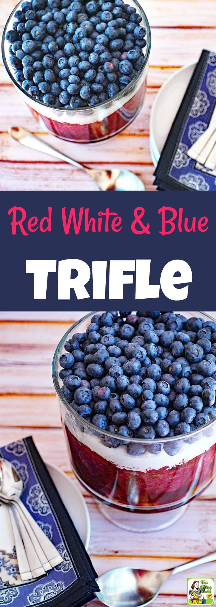 Make a Red White and Blue Trifle for your next party! This easy trifles recipe uses three types of healthy berries – blueberries, blackberries, and raspberries. It's reduced calorie and using non-dairy topping and gluten-free bread, too. It's the perfect trifle berry dessert for entertaining! #recipe #trifle #dessert #berries #blueberries #raspberries #fourthofjuly #easy #dessertrecipes #recipeoftheday #healthyrecipes #easyrecipes #glutenfree #recipe #memorialday #cookout #redwhiteandblue