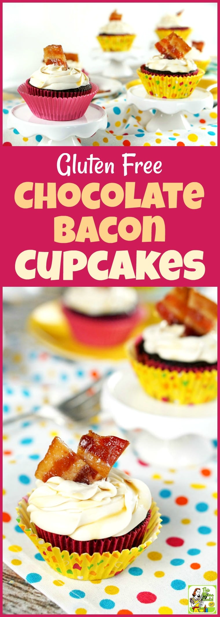 Love maple bacon? Then you\'ll want to make this Gluten Free Chocolate Bacon Cupcakes recipe! These bacon cupcakes are super easy to make since you\'ll be using store bought gluten free cake mix and frosting. #recipe #easy #recipeoftheday #healthyrecipes #glutenfree #easyrecipes#snack #snacks #dessert #dessertrecipes #baking #cupcakes #bacon #maple #chocolate #whiskey
