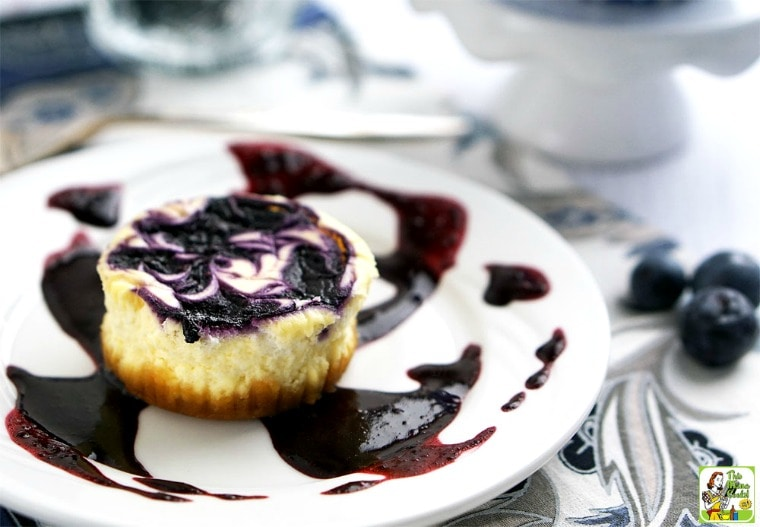 Gluten Free Mini Cheesecake with Blueberry Swirl, a better for you gluten free cheesecake recipe