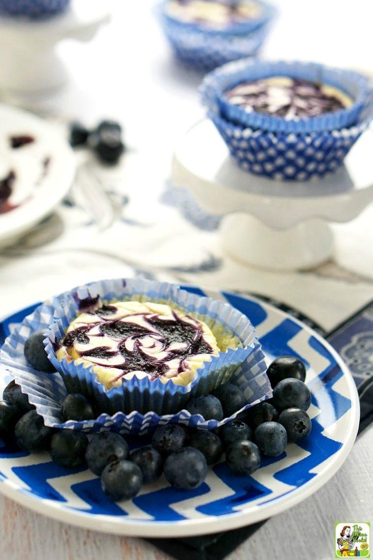 Gluten Free Mini Cheesecake Recipe with Blueberry Swirl
