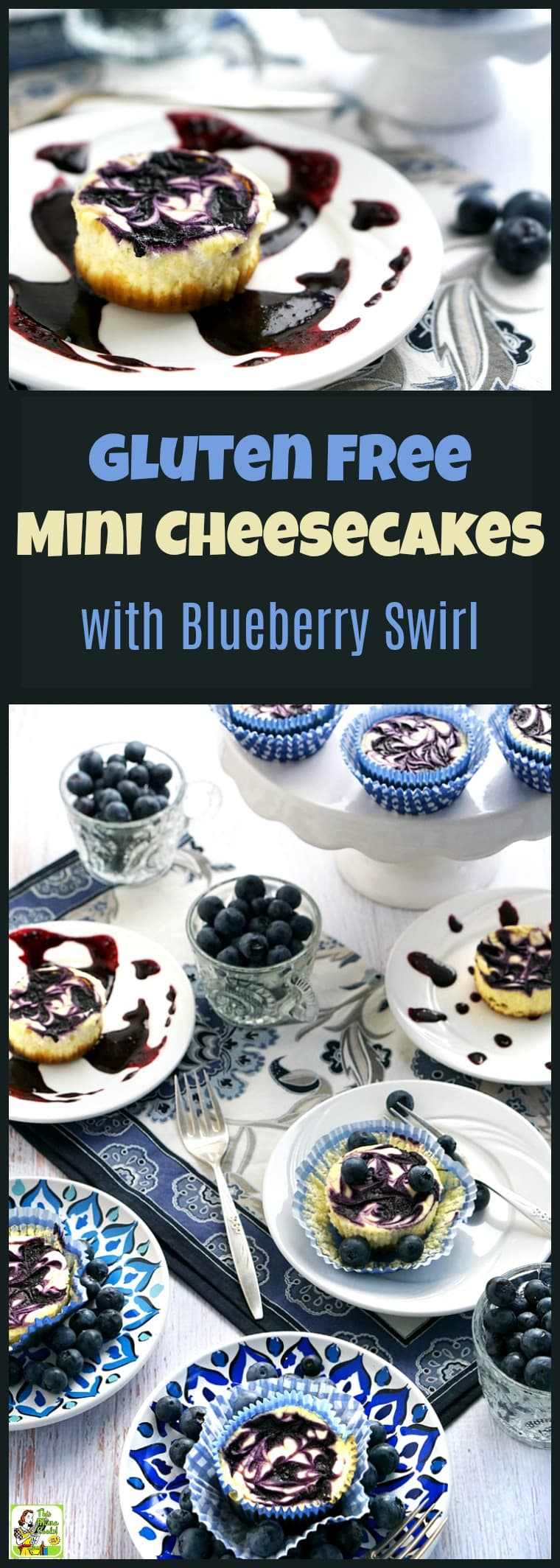 Gluten Free Mini Cheesecake with Blueberry Swirl is a guilt-free dessert recipe because they\'re made with blueberries, non-fat Greek yogurt, low-fat cream cheese & monk fruit sweetener. This gluten-free mini cheesecake recipe is the ideal dessert for parties & tailgating! #recipe #easy #recipeoftheday #healthyrecipes #glutenfree #easyrecipes #snack #snacks #dessert #dessertrecipes #blueberries #cheesecake #cupcakes #cupcake #baking #party #partyfood #tailgating #entertaining