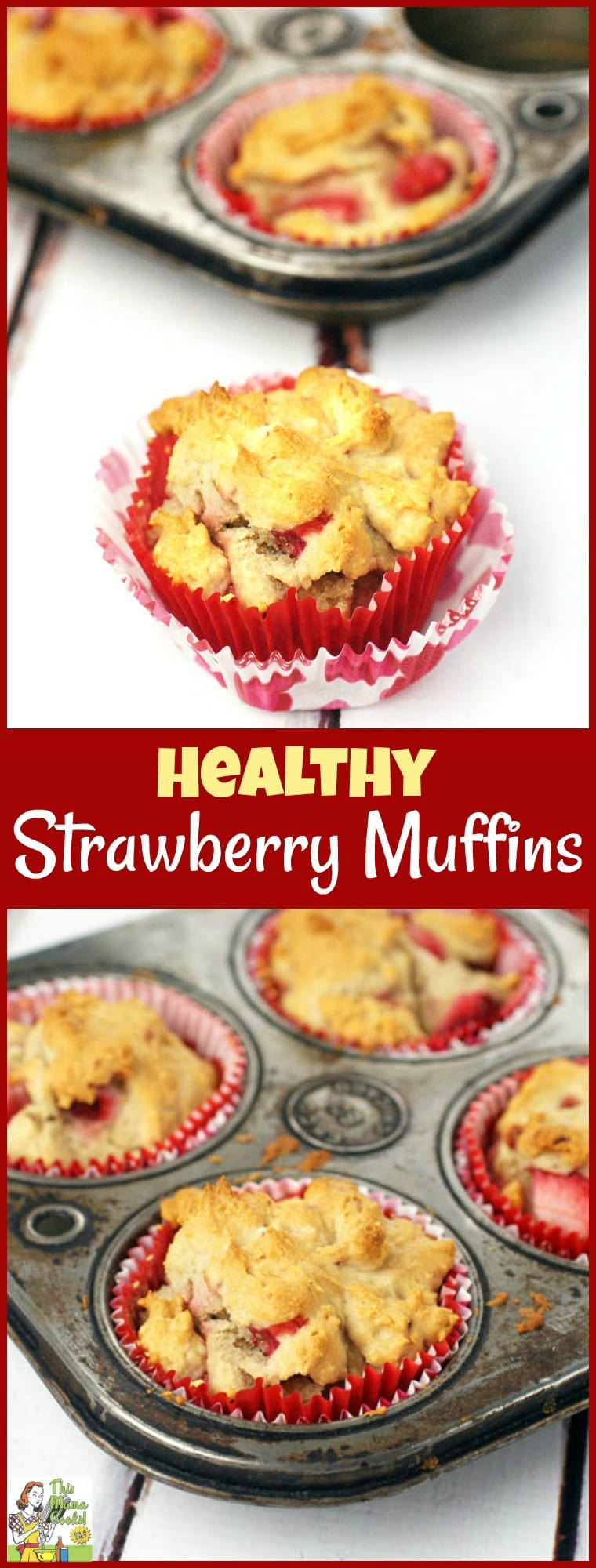 Are you looking for an easy gluten free muffin recipe? Bake up a batch of Healthy Strawberry Muffins! This strawberry muffins recipe can be made with frozen or fresh strawberries. Serve these gluten free strawberry muffins for a healthy breakfast, brunch, snack or dessert treat! #recipe #easy #recipeoftheday #healthyrecipes #glutenfree #easyrecipes #dessert #baking #dessertrecipes #strawberries #muffins #breakfast #brunch #snack #snacks