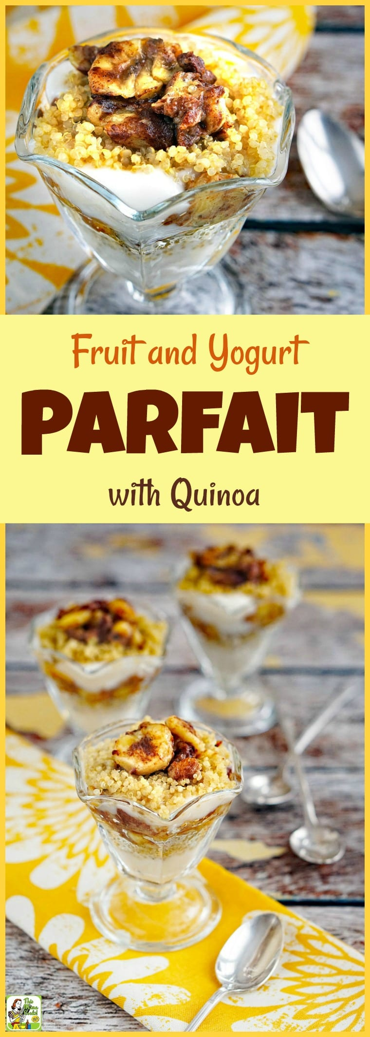 This Fruit and Yogurt Parfait with Quinoa recipe is gluten free and dairy free. Serve this yogurt parfait as an easy breakfast or healthy dessert. This breakfast parfait is also low FODMAP diet friendly. #recipe #easy #recipeoftheday #healthyrecipes #glutenfree #easyrecipes #breakfast #brunch #snack #snacks #dessert #dessertrecipes #FODMAP #lowFODMAP #quinoa #dairyfree #fruit #bananas #breakfastparfait #yogurtparfait