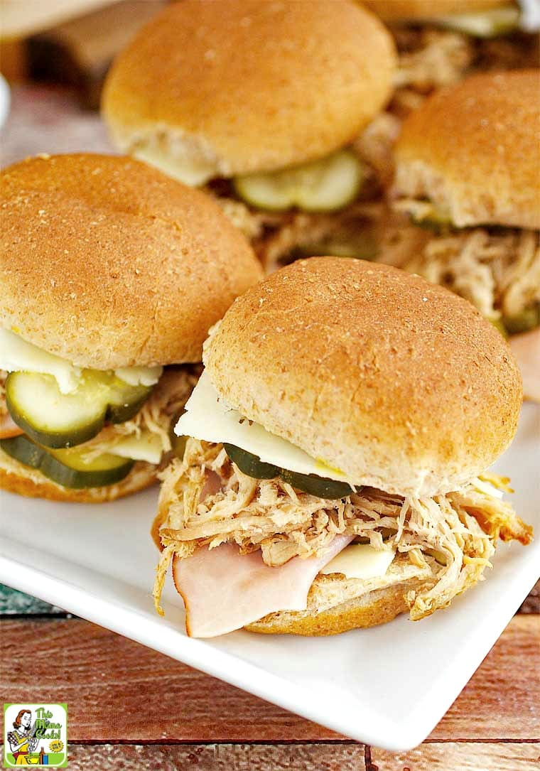 This Cuban pulled pork sliders recipe are made in a crock-pot.