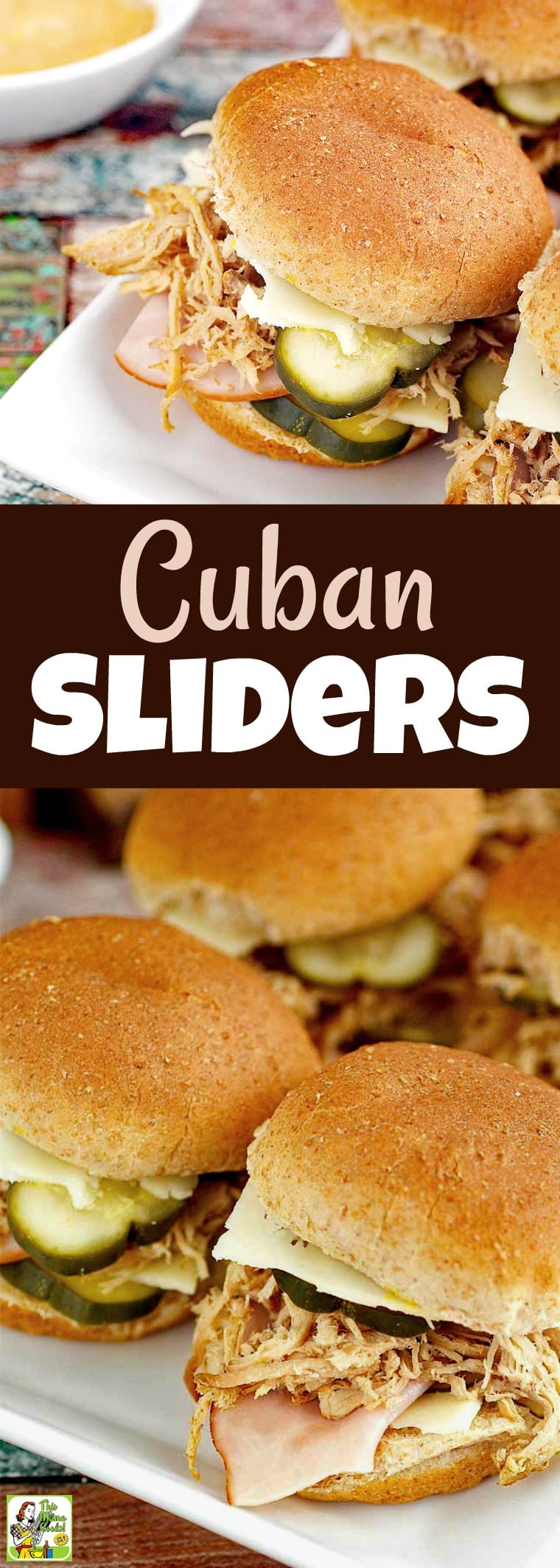 Make these Cuban Sliders for a party! These mini Cuban sandwiches are made with slow cooker pulled pork and traditional Cuban sandwich ingredients. #recipe #easy #recipeoftheday #healthyrecipes #glutenfree #easyrecipes #partyfood #appetizers #slowcooker #crockpot #cubansandwiches #cubansliders #sliders #cubanfood #cuban #sandwiches #pork
