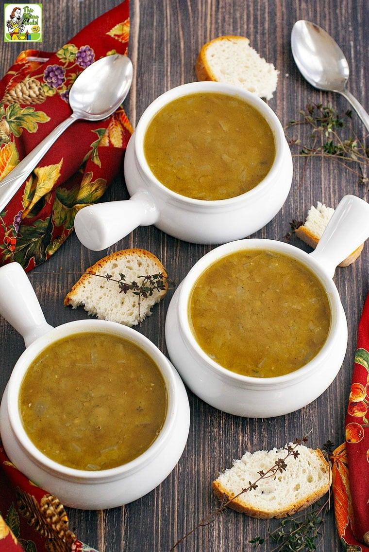 This split pea soup recipe can be made vegan or vegetarian.