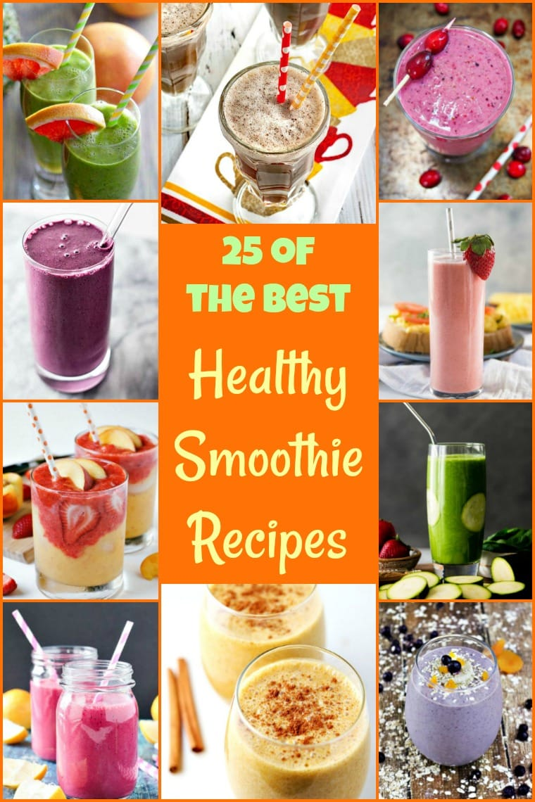 Get back into healthy eating with 25 of the Best Healthy Smoothie Recipes! #recipe #easy #recipeoftheday #healthyrecipes #glutenfree #easyrecipes #breakfast #snacks #lowcaloriesnacks #snackrecipes #smoothies #smoothiesrecipes #healthydrinks #healthydrinksrecipe #shakes #dairyfree #vegan #veganfood #veganrecipes #fruit #yogurt