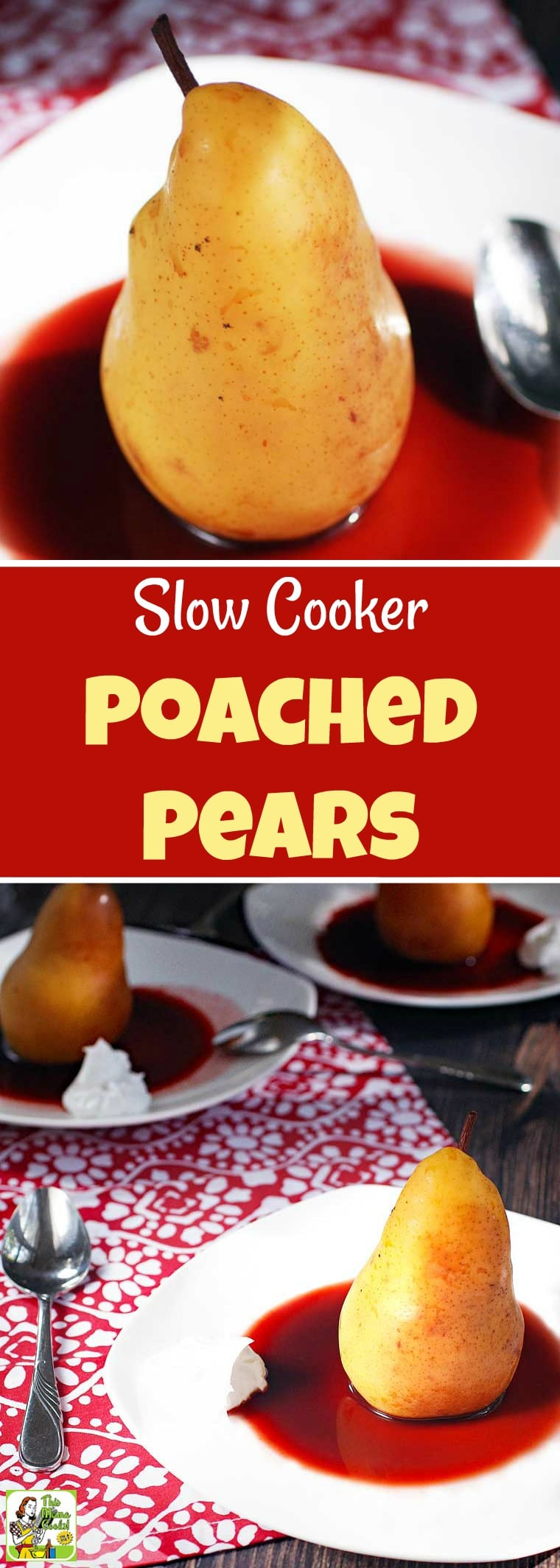 Slow Cooker Poached Pears recipe uses unsweetened cherry juice instead of wine and orange juice and monk fruit sweetener instead of sugar. Served with coconut cream. This dessert recipe is sugar-free, vegan and gluten-free. #sugarfree #sugarfreerecipes #pears #recipe #easy #recipeoftheday #healthyrecipes #glutenfree #easyrecipes #desserts #dessertrecipes #dessertideas #slowcooker #slowcookerrecipes #crockpot #crockpotrecipes #vegan #veganfood #veganrecipes