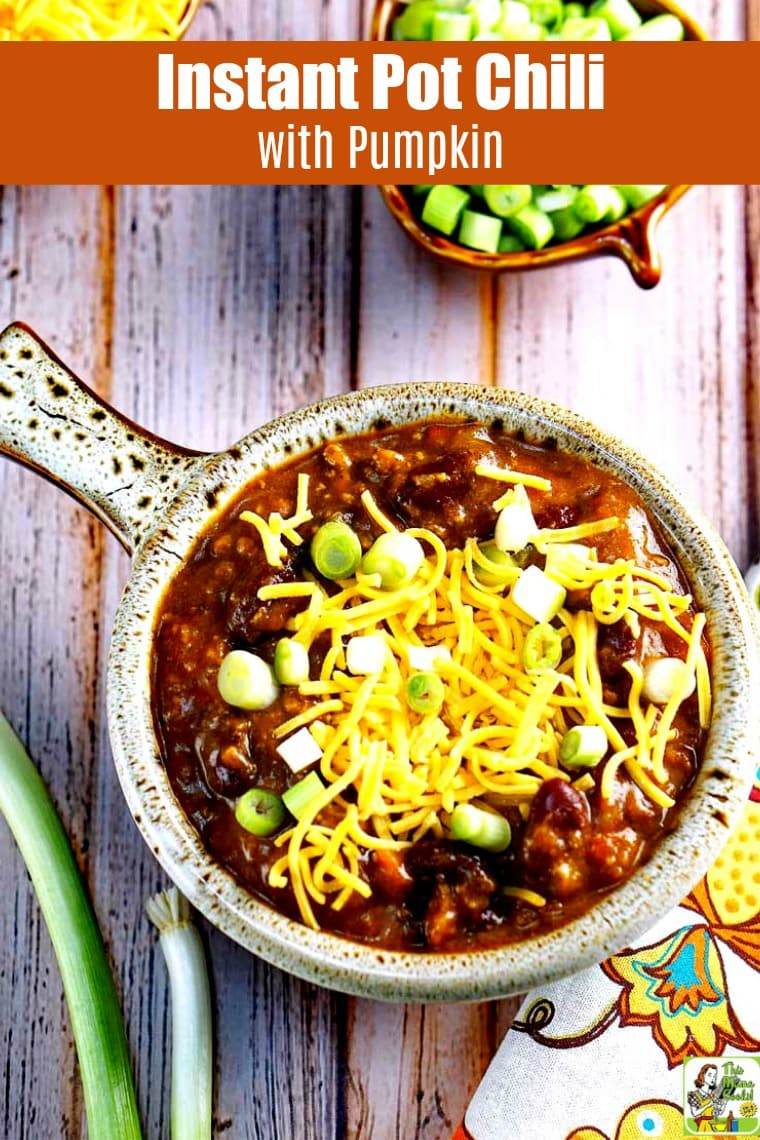 This delicious Instant Pot Chili with Pumpkin recipe is perfect for pressure cooker beginners. It tastes like it's been cooking for hours, but takes about an hour to make. #recipes #recipeoftheday #easyrecipe #dinnerrecipes #dinner #easydinner #easydinnerrecipes #pumpkinrecipe #pumpkin #chili #beans #instantpot #instantpotrecipes #instantpotrecipeseasy #instantpotchili