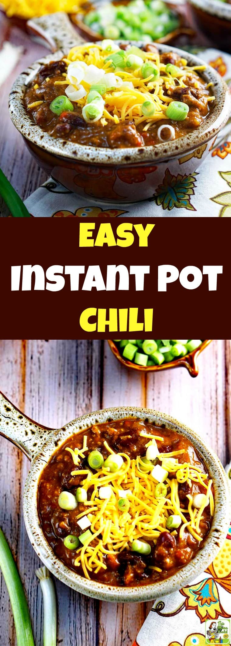 This delicious Easy Instant Pot Chili recipe is perfect for pressure cooker beginners. It tastes like it\'s been cooking for hours, but takes about an hour to make. #recipes #recipeoftheday #easyrecipe #dinnerrecipes #dinner #easydinner #easydinnerrecipes #pumpkinrecipe #pumpkin #chili #beans #instantpot #instantpotrecipes #instantpotrecipeseasy #instantpotchili