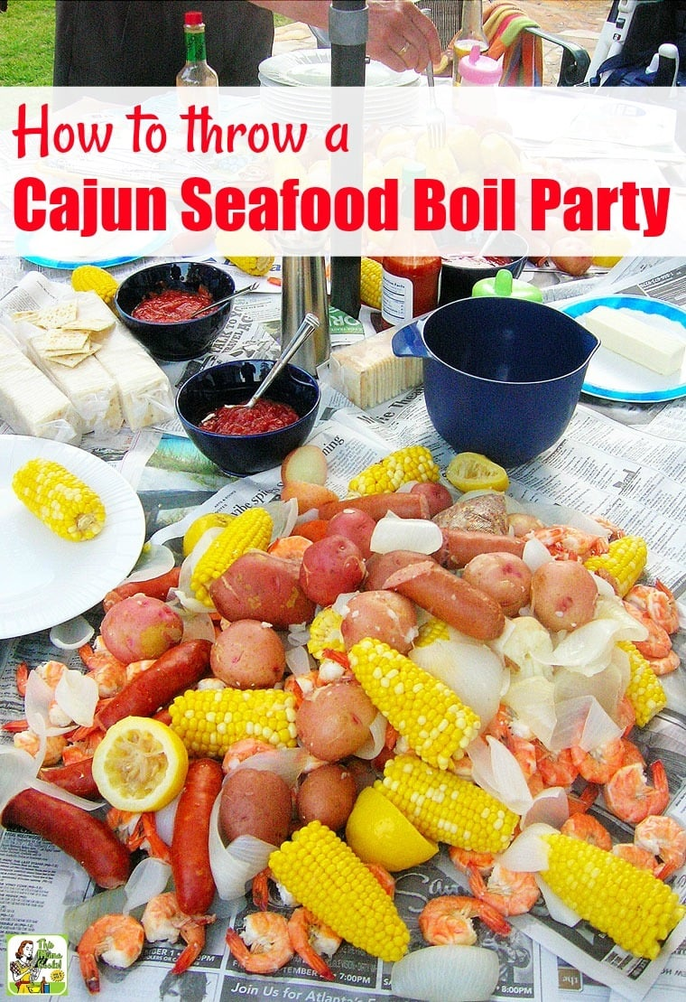 Learn how to throw a Cajun Seafood Boil Party. Includes tips on boil equipment, Cajun seasoning, how to buy crawfish, and substituting crawfish for seafood. #shrimp #recipes #easy #recipeoftheday #partyideas #partyfood #seafoodrecipes #seafood #crawfish #shrimp #shrimprecipes