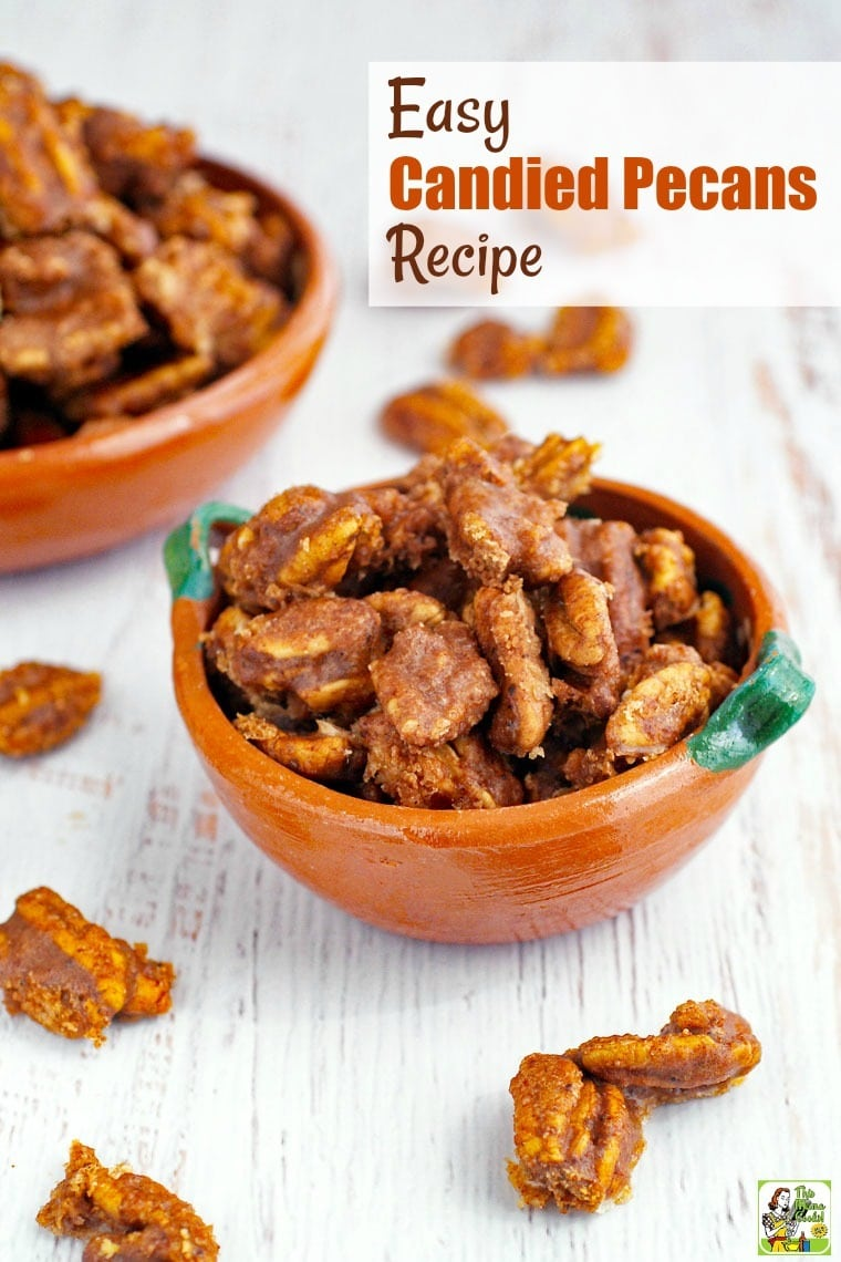 Closeup of bowls of Candied Pecans.