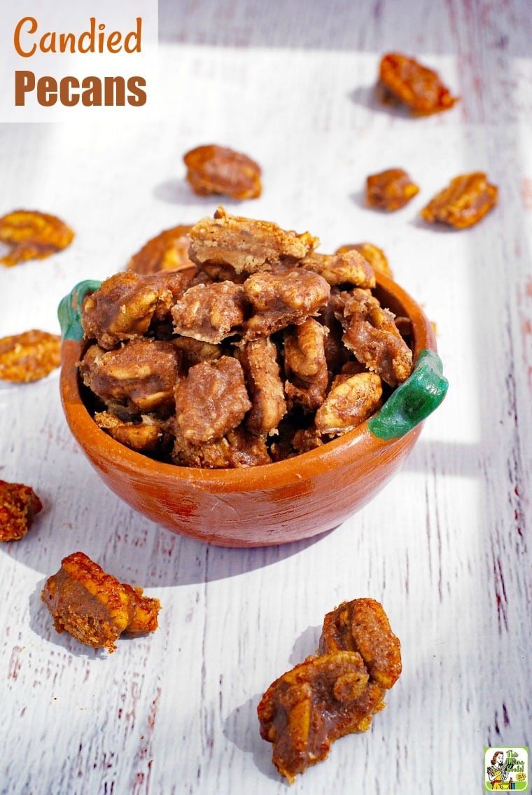 Closeup of a bowl of Candied Pecans.