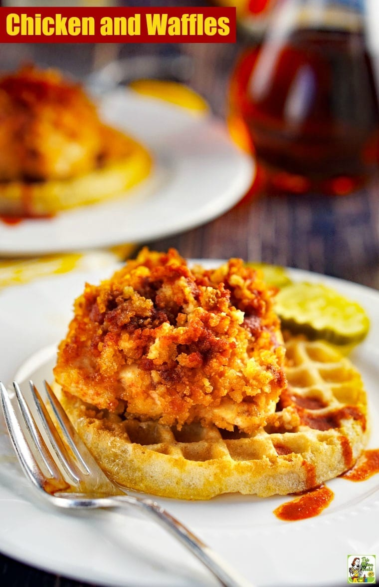 This gluten-free Chicken and Waffles Recipe is a take on hot Nashville chicken and waffles. Easy to make since it uses gluten free frozen waffles and is baked in the oven. #dairyfree #recipes #easy #recipeoftheday #glutenfree #easyrecipe #glutenfreerecipes #dinner #easydinner #dinnerrecipes #dinnerideas #chicken #chickenfoodrecipes #chickenrecipes #waffles