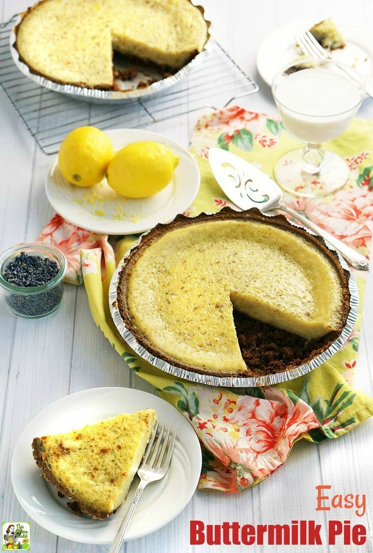 Looking for an easy buttermilk pie recipe? This recipe for buttermilk pie is gluten-free and flavored with lavender, lemon zest, and vanilla. #recipes #easy #recipeoftheday #healthyrecipes #glutenfree #easyrecipes #baking #pies #pierecipes #desserts #dessertrecipes #dessertideas #lavender #lemon