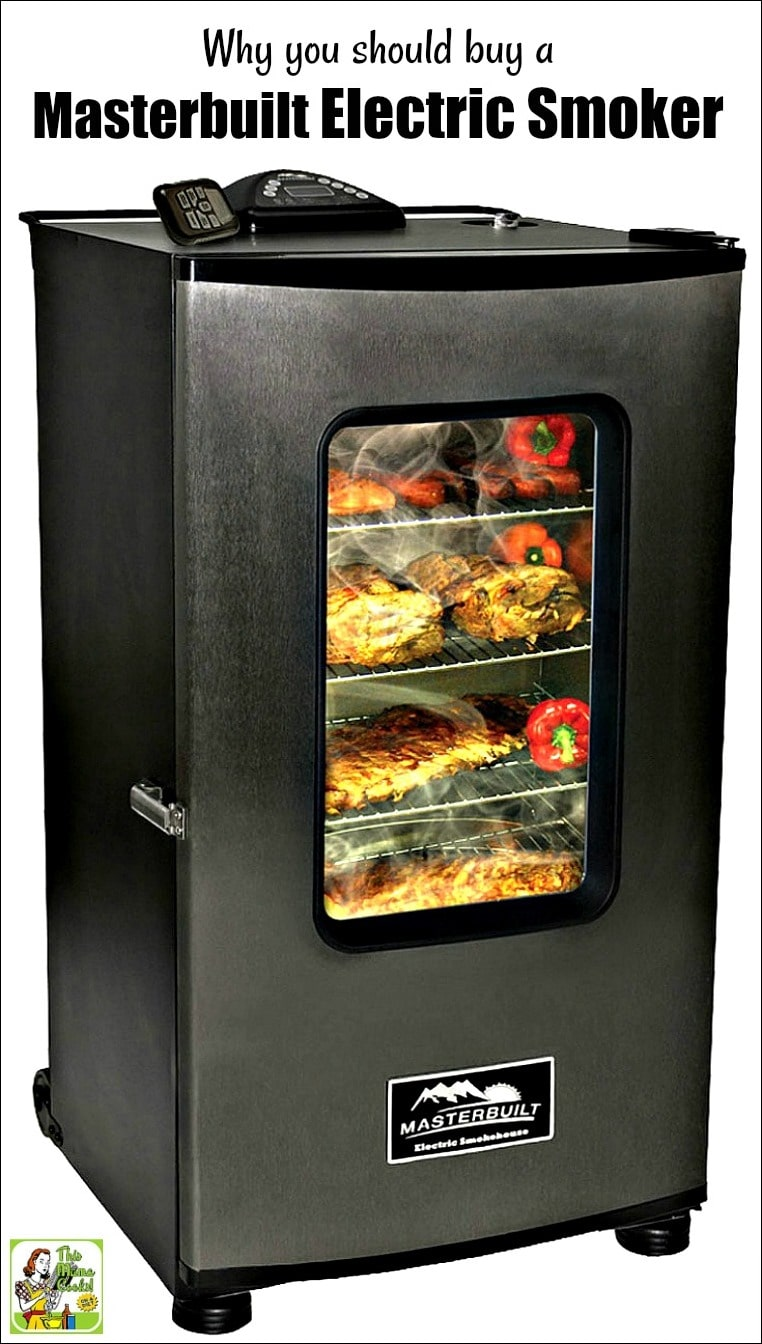 A Masterbuilt Electric Smoker smoking ribs, meats, and vegetables.