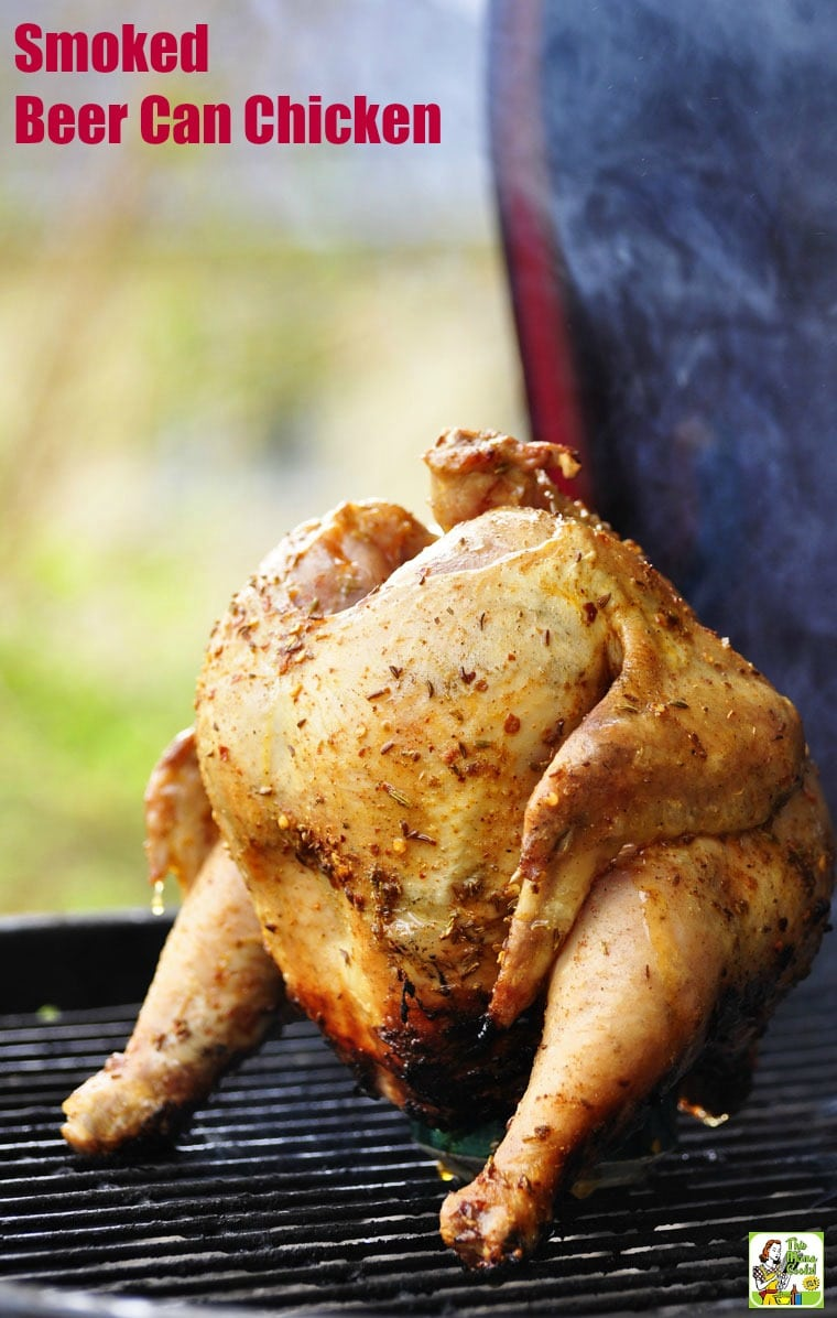 Making smoked beer can chicken is easier than you think. Just use a can of beer (or juice), bottled marinade, and some store-bought barbeque rub. Tastes great and worth the effort! #chicken #recipes #easy #recipeoftheday #glutenfree #easyrecipe #glutenfreerecipes #dinner #easydinner #dinnerrecipes #dinnerideas #chicken #chickenfoodrecipes #chickenrecipes