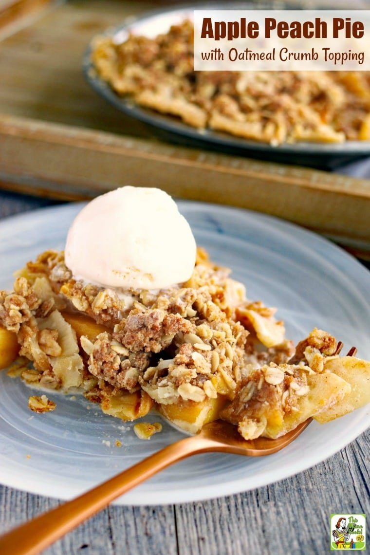 his Apple Peach Pie with Oatmeal Crumb Topping is a terrific dessert for using up fruit. With a simple crumb topping and store-bought crust, it comes together in no time. Gluten-free with vegan and dairy-free options. #recipes #easy #recipeoftheday #glutenfree #glutenfreerecipes #desserts #dessertrecipes #dessertideas #baking #pie #dairyfree #veganfood #vegan #veganrecipes #vegandesserts #apple #apples