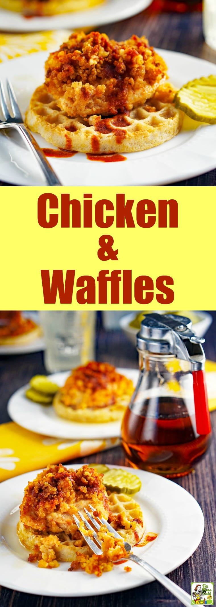 This gluten-free Chicken and Waffles Recipe is a take on hot Nashville chicken and waffles. Easy to make since it uses gluten-free frozen waffles and is baked in the oven. #dairyfree #recipes #easy #recipeoftheday #glutenfree #easyrecipe #glutenfreerecipes #dinner #easydinner #dinnerrecipes #dinnerideas #chicken #chickenfoodrecipes #chickenrecipes #waffles
