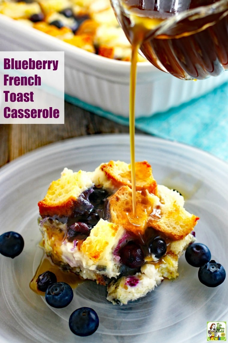 This Blueberry French Toast Casserole recipe is an easy to make ahead breakfast. This overnight French toast casserole recipe is dairy free and gluten free and comes with a vegan option. #recipes #easy #recipeoftheday #glutenfree #easyrecipe #easyrecipes #glutenfreerecipes #breakfast #brunch #baking #blueberry #blueberries #veganfood #vegan #veganrecipes #vegandesserts #casserole #frenchtoast