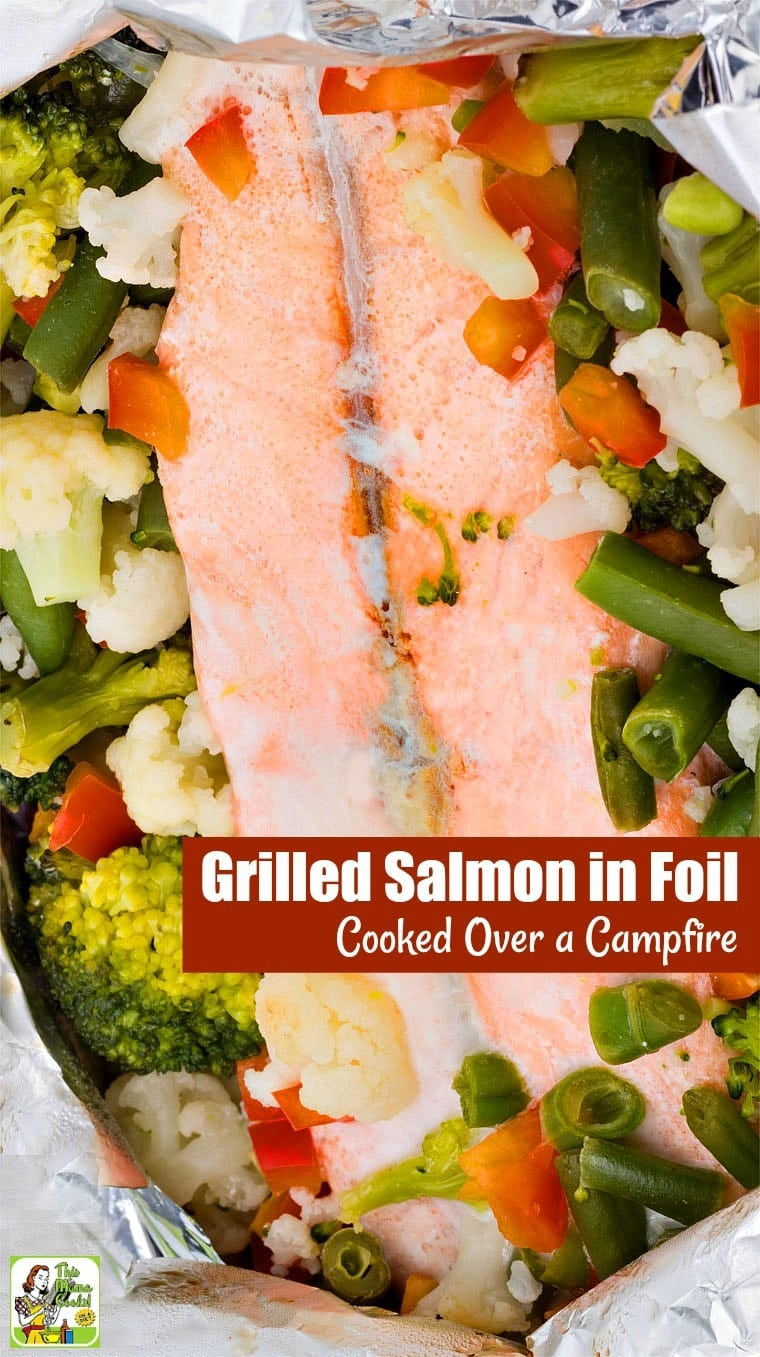 This Grilled Salmon in Foil recipe is easy to do! To cook salmon in foil on the grill you need marinade, fish, and veggies. That's it. You can also add slices of lemon and some herbs if you like. #recipes #easy #recipeoftheday #glutenfree #easyrecipe #easyrecipes #glutenfreerecipes #dinner #easydinner #dinnerrecipes #dinnerideas #grill #grilling #grillrecipes #grillingrecipes #fish #salmon